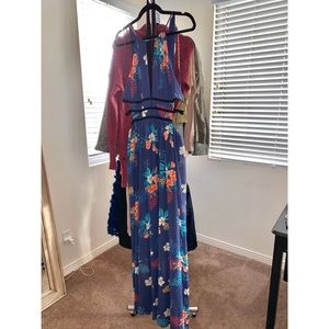 Blue floral open side maxi dress from Express